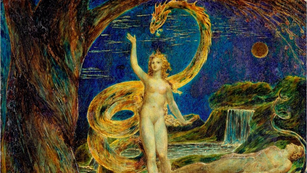 """William Blake's """"Eve Tempted by the Serpent,"""" from 1799-1800"""