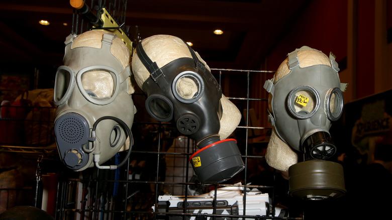 Gas masks on display