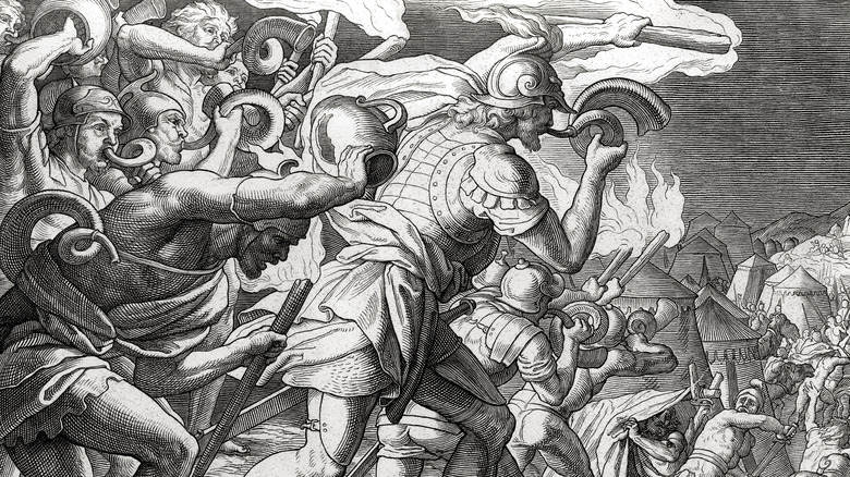 engraving of gideon's victory