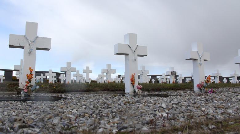White crosses along a shoreline