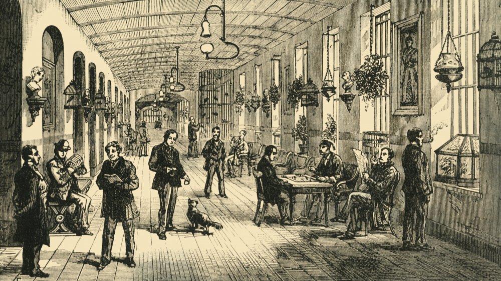 Interior of the Bethlem Royal Hospital, a psychiatric hospital, circa 1878