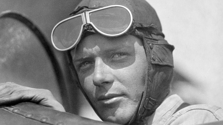 Charles Lindbergh riding plane