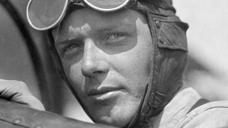 Lindbergh in his plane