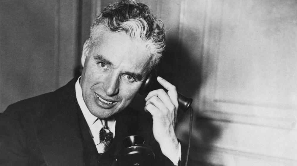 Charlie Chaplin on the phone