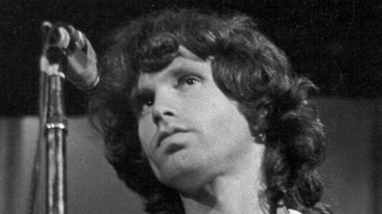 Jim Morrison preparing to sing