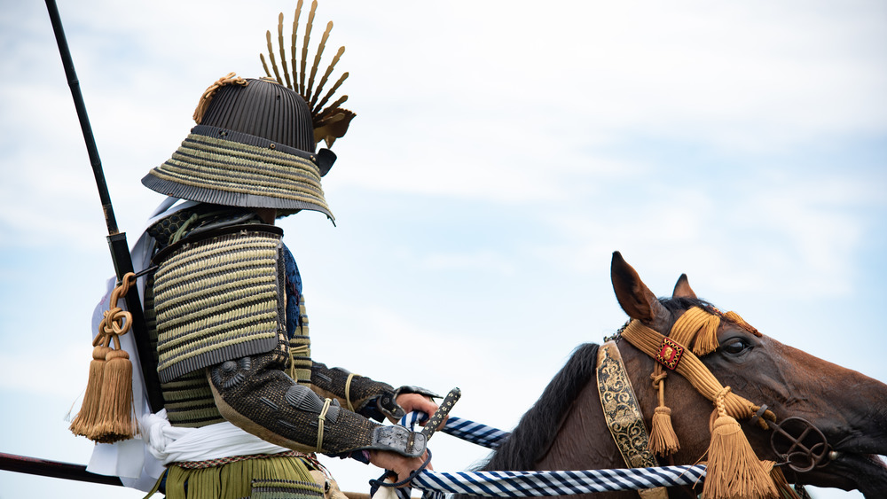 Samurai costume dress-up at a Japanese festival