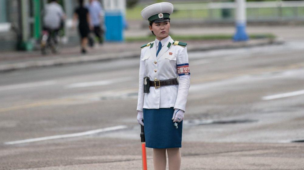 North Korean traffic police officer, 2018