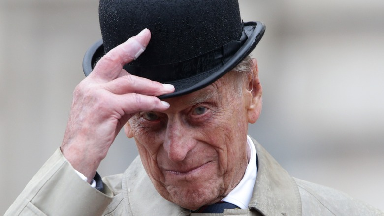 Prince Philip in a bowler hat