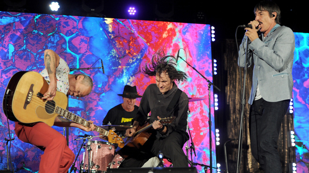 Red Hot Chili Peppers performing on stage