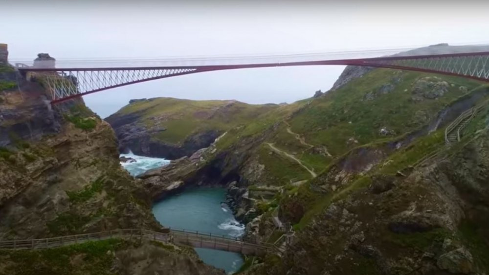 The new footbridge at Tintagel Castle spanning the distance between its two cliffs