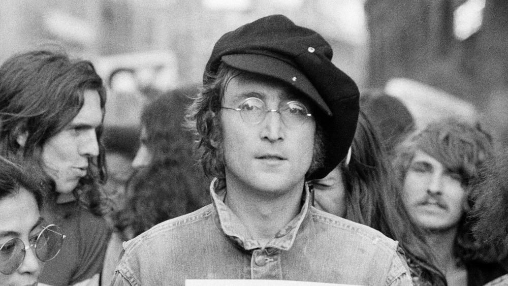 John Lennon at a rally in 1975 in London