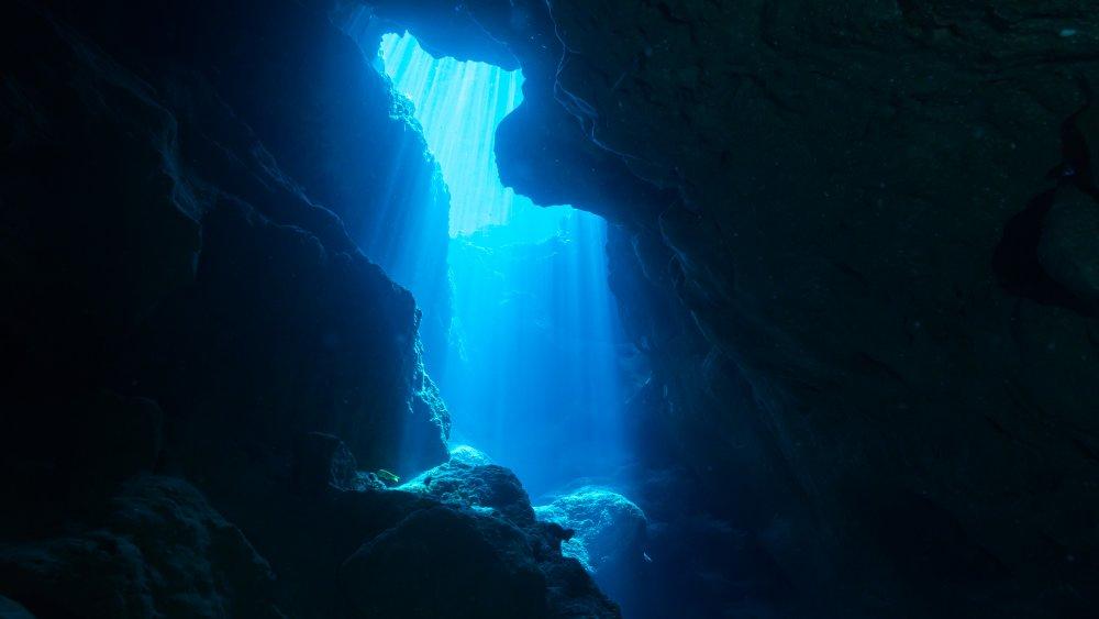Sunbeam into an underwater cave