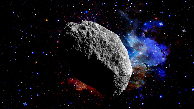 Asteroid with stars in background