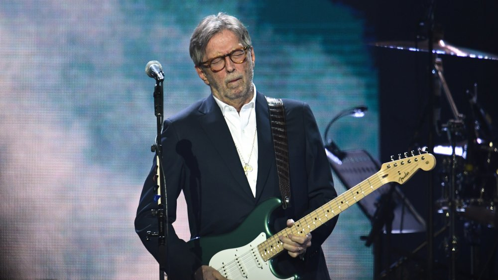 A shot of Eric Clapton performing at a concert